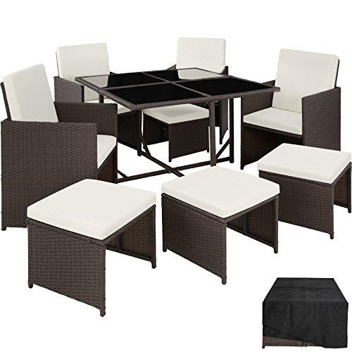 TecTake Poly Rattan Sitzgruppe Cube | Schutzhülle & Edelstahlschrauben | 4 Stühle 1 Tisch 4 Hocker - diverse Farben