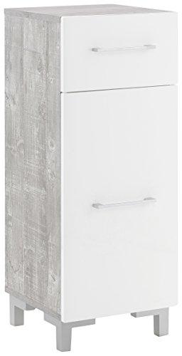WILMES Badmöbel, Badezimmerunterschrank, Unterschrank, Holzwerkstoff, beton / weiß hochglanz melamin, 30 x 31.5 x 80 cm