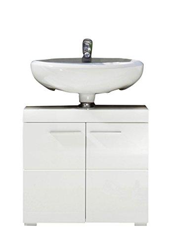 trendteam Badezimmer Waschbeckenunterschrank Unterschrank Amanda, 60 x 56 x 34 cm in Weiß Hochglanz mit viel Stauraum und pflegeleichten Tiefzieh-Hochglanzfronten
