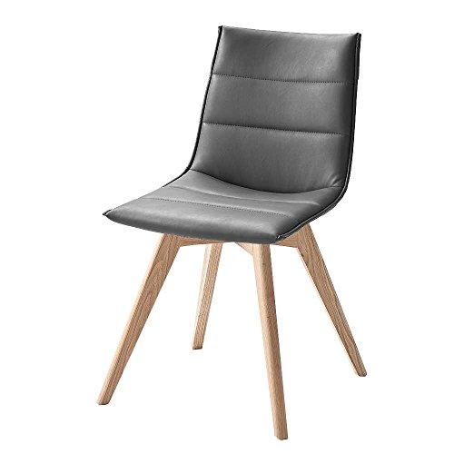 Design Küchenstuhl in Grau Holzbeine massiv (2er Set) Pharao24