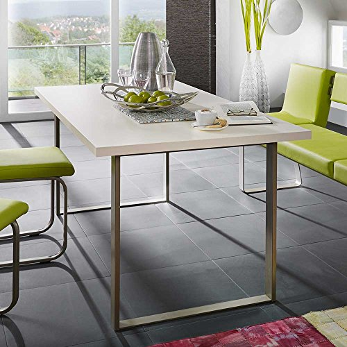 Designertisch Metall Cremefarben Breite 180 cm Tiefe 90 cm Pharao24