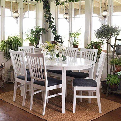 Esstisch mit Stühlen im skandinavischen Design Weiß Grau (7-teilig) Pharao24