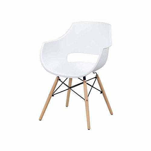 Esszimmerstuhl Set mit Armlehnen Weiß Kunststoff (4er Set) Pharao24