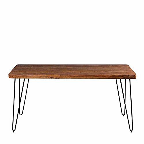 Esszimmertisch aus Sheesham Massivholz Metall Schwarz Breite 180 cm Pharao24