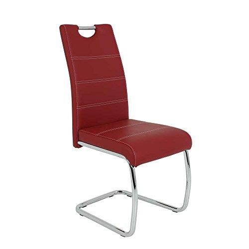Freischwinger Set in Rot Metall (4er Set) 2er Set Pharao24
