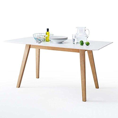 Küchentisch im Retro Design Weiß Eiche Breite 140 cm Tiefe 80 cm Pharao24