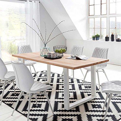Massivholztisch aus Kernbuche Massivholz Weiß Metall Breite 180 cm Tiefe 90 cm Pharao24