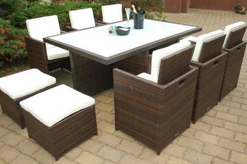 PolyRattan Essgruppe DEUTSCHE MARKE -- EIGNENE PRODUKTION Tisch + 6 Stuhl & 4 Hocker -- 8 Jahre GARANTIE -- Garten Möbel incl. Glas und Sitzkissen Ragnarök-Möbeldesign braun Gartenmöbel