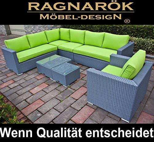 PolyRattan Lounge DEUTSCHE MARKE -- EIGNENE PRODUKTION -- 8 Jahre GARANTIE Garten Möbel incl. Glas und Polster Ragnarök-Möbeldesign (platinum-grau) Gartenmöbel