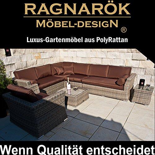 PolyRattan Lounge - Deutsche Marke - eigene Produktion -- 8 Jahre Garantie auf UV Beständig - Garten Möbel Ragnarök-Möbeldesign Natur-Farben H Rundrattan Gartenmöbel Alu