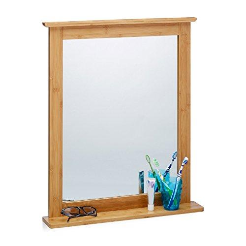 relaxdays wandspiegel bambus badspiegel mit ablage. Black Bedroom Furniture Sets. Home Design Ideas