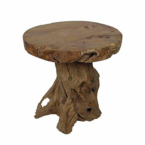 Runder Esstisch aus Teak Wurzelholz 70 cm breit Pharao24