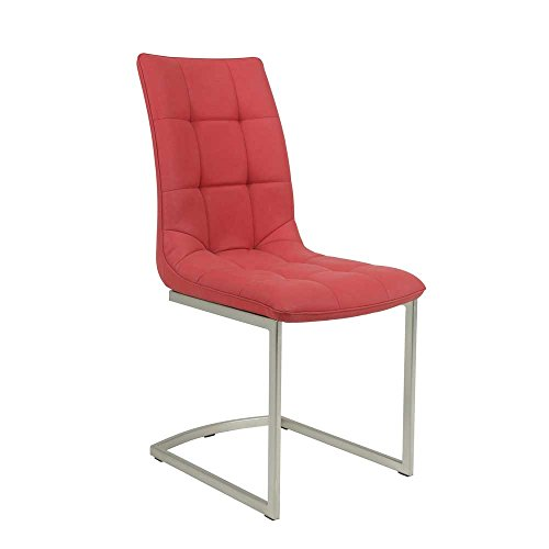 Schwingstuhl in Rot Kunstleder Metall (2er Set) Pharao24