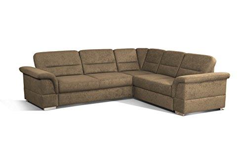 Cavadore Eck-Sofa Tuluza / Moderne Eck-Couch braun mit Spitzecke / Größe: 262 x 87 x 233 cm (BxHxT) / Braun
