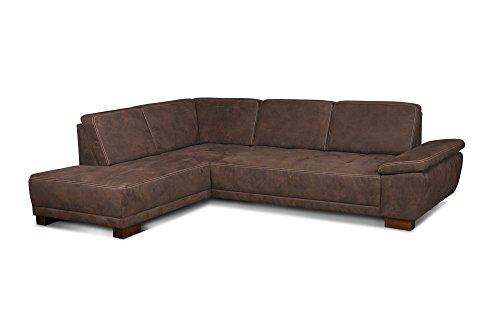 Cavadore Eckcouch Cytaro in Wildlederoptik und Kontrastnaht / Ottomane links / Sofa L-Form mit verstellbarer Sitztiefe / Größe: 281 x 84 x 218 cm (BxHxT) / Farbe: Braun