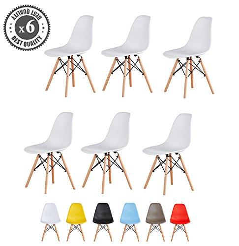 MCC Retro Design Stühle Lia im 6er Set, Eiffelturm inspirierter Style für Küche, Büro, Lounge, Konferenzzimmer Etc, 6 Farben, Kult