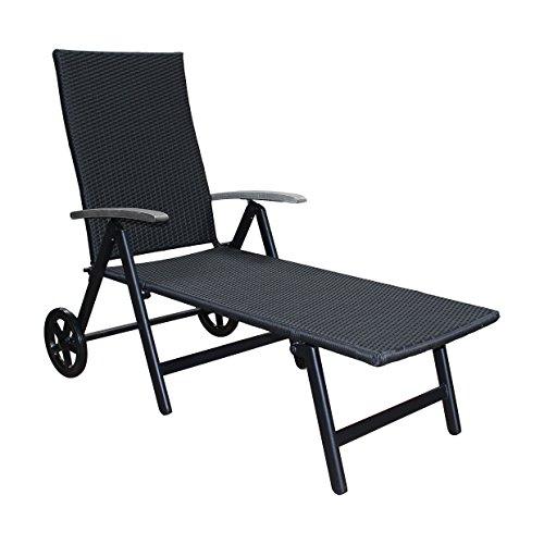 D&S Vertriebs GmbH Alu Sonnenliege Gartenliege Rattanliege Rollliege Relaxliege Rollenliege Liege