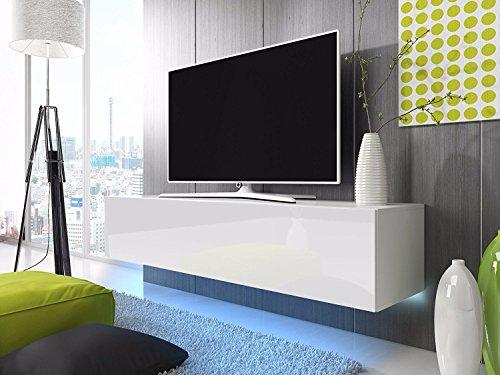 Lana – Fernsehschrank/TV-Lowboard mit LED Modern Hängend 160 cm (Weiß Matt/Weiß Hochglanz)