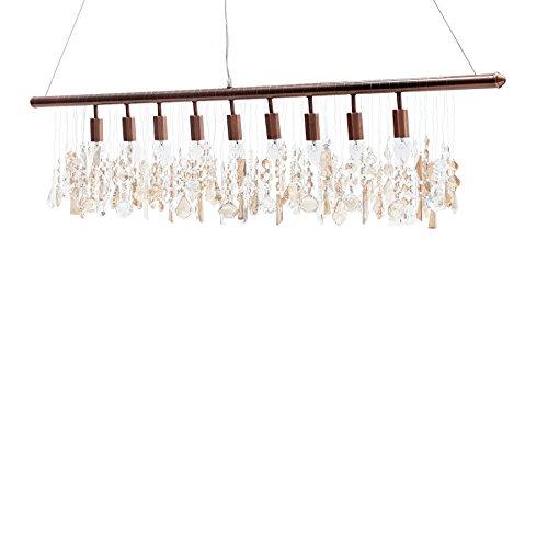 Stilvolle Hängeleuchte DIAMONDS XL kupfer Acrylgas Kristalle 120 cm Pendelleuchte Esszimmer Beleuchtung