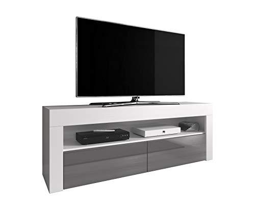 TV-Element TV Schrank TV-Ständer Entertainment Lowboard Luna 140cm Korpus Mattweiß/Fronten Grau Hochglanz