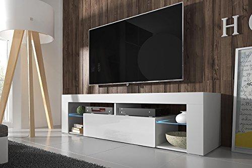 TV Lowboard / TV Schrank (140 cm, Weiß Matt / Weiß Hochglanz, optional mit LED-Beleuchtung)