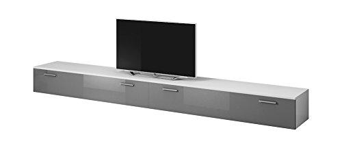 TV Möbel Lowboard Schrank Ständer Boston Korpus weiß/Front Grau Hochglanz 300 cm