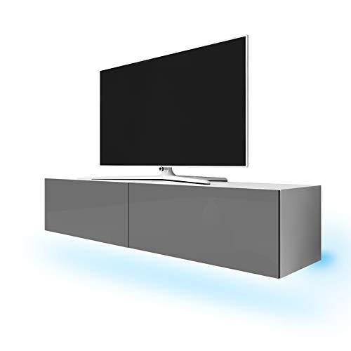 TV Schrank Lowboard Hängeboard SIMPLE mit LED Blau (Weiß Matt / Grau Hochglanz 200 cm)