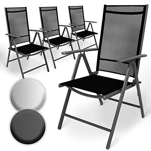 Aluminium Gartenstuhl mit Armlehnen Set | 5-Fach verstellbar, leicht, klappbar, mit 2x1 Kunststoffgewebe | Hochlehner, Klappstuhl, Liegestuhl, Stühle, Sitzmöbel, Garten, Terrasse (4er, Dunkelgrau)