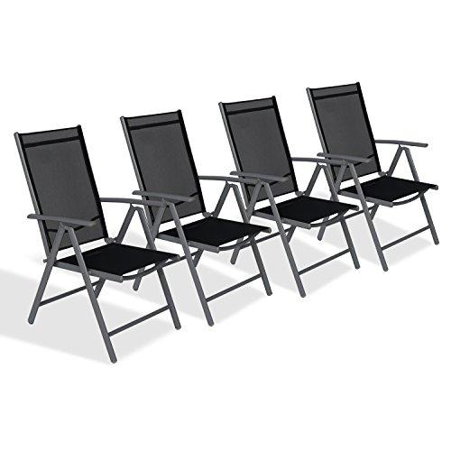 CCLIFE Alu Klappstuhl Gartenstuhl verstellbar klappbar Belastbarkeit 150 kg, Farbe:Dunkelgrau, Größe:4er-Set