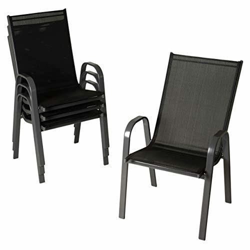Nexos 4er Set Gartenstuhl B-Ware Stapelstuhl Stapelsessel Hochlehner – Textilene Stahl – stapelbar – Farbe: Rahmen dunkelgrau/Bespannung schwarz