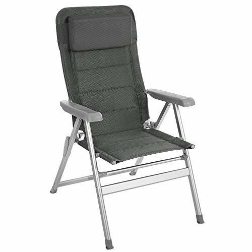 SONGMICS Gartenstuhl, klappbar, komfortabler Sitz, mit Schaumstoff gepolstert, Klappstuhl mit Kopfkissen, robust, verstellbar, bis 150 kg belastbar, Outdoor Stuhl, grau GCB02GY