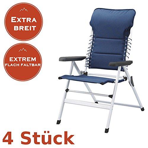4er Set Faltbare Campingstühle mit extra breiter Sitzfläche, auch als Gartenliegestuhl nutzbar, blau