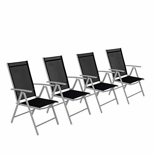 CCLIFE Alu Klappstuhl Gartenstuhl verstellbar klappbar Belastbarkeit 150 kg, Farbe:Hellgrau, Größe:4er-Set
