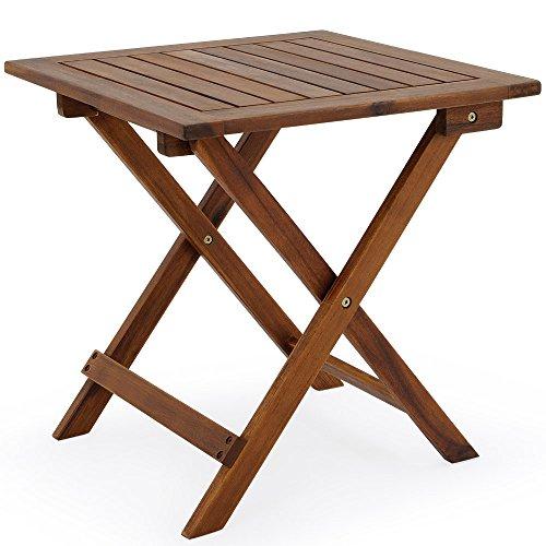 Deuba Beistelltisch Klapptisch I Akazie Holz I 46 x 46 cm I Klappbar I Balkontisch Holztisch Gartentisch Balkon Garten