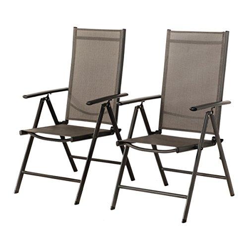 Grand Patio 2-er Set Stuhl, 7-Fach verstellbar Klappsessel, Gartenstuhl, Hochlehner für Terrasse Multipositionssessel, Balkon Möbel, grau