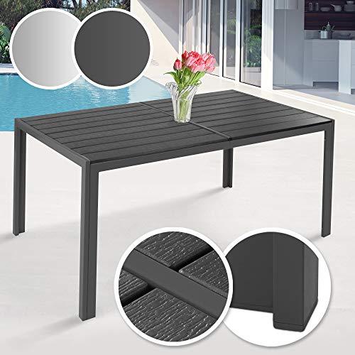 MIADOMODO Gartentisch 150 x 90 cm | aus Stahl und Kunststoff, für bis zu 6 Personen, Witterungs- und UV-beständig, in Grau | Metall Tisch Garten Balkon Esstisch Sitzgarnitur Gartenmöbel (Dunkelgrau)