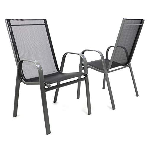 Nexos 2er Set Gartenstuhl Stapelstuhl Stapelsessel Hochlehner Terrassenstuhl - Textilene Stahlgestell - Farbe: Rahmen dunkelgrau/Bespannung schwarz