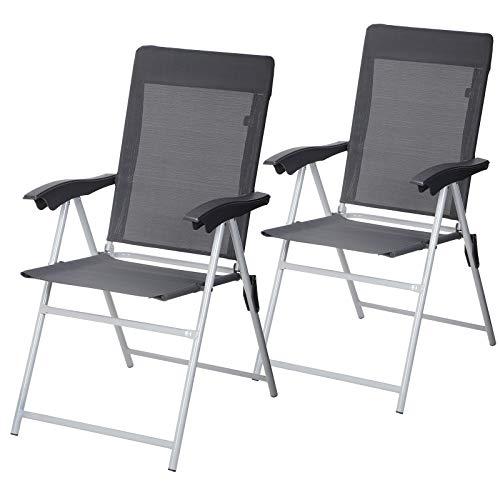 SONGMICS Gartenstuhl, 2er-Set, klappbar, Klappstuhl mit Armlehnen, komfortabler Sitz, hoch belastbar, verstellbar, bis 150 kg belastbar, Outdoor Stuhl, grau GCB03GY