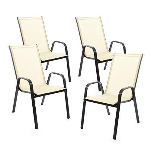 SONLEX 4er Set Gartenstuhl Stapelstuhl Stapelsessel Hochlehner Terrassenstuhl - Textilene Stahlgestell - pflegeleicht robust stapelbar - Farbe: Rahmen dunkelgrau/Bespannung Creme