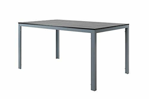 Strandgut07 Aluminium Gartentisch Terrassentisch Balkontisch ca. 150x90 cm mit Polywood Tischplatte schwarz/grau