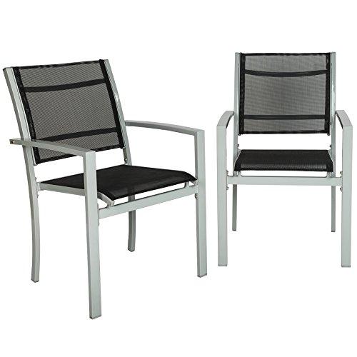 TecTake 800322 Gartenstuhl 2er Set Hochlehner aus Metall und Kunststoffgewebe, äußerst plfegeleicht, mit Armlehnen - Diverse Farben - (Silber | Nr. 402065)