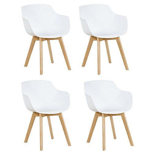 4x Retro Designerstuhl, 4er Esszimmerstühle mit Armlehne , Küchenstuhl mit Lehne & 4 Holz Beinen Design Essstuhl , weiß