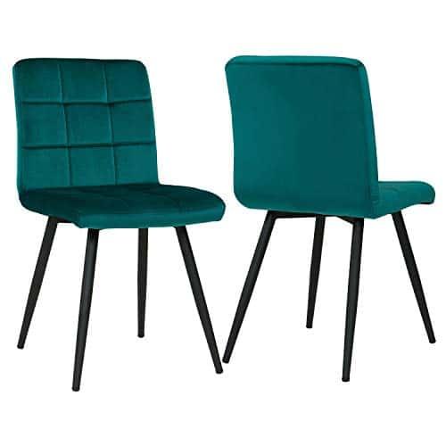 Duhome 2er Set Esszimmerstuhl aus Stoff Samt Petrol Grün Blau Farbauswahl Stuhl Retro Design Polsterstuhl mit Rückenlehne Metallbeine 8043B